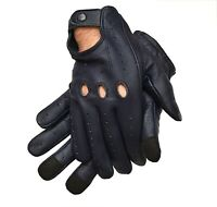 MEN'S REAL LEATHER DRIVING/RIDING GLOVES TOUCH SCREEN/TEXTING