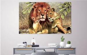Lion Family art Home decor High quality Canvas print choose size