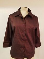 Lux Top Sz L Womens 3/4 Sleeve Button Front Stretch Blouse Burgundy