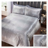 Rapport Crushed Velvet Tiffany Sequin Effect Duvet Cover Bedding Set Silver