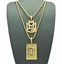 """Hip Hop Iced Out Micro CZ MMG, DC Pendant w/ 24"""",30"""" Box Chain 2 Necklace Set"""