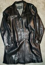 Ellen Tracy Genuine Leather Jacket, Button Front, Black, Size Small Made in USA