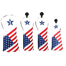 New 4pcs USA Flag Driver Fairway Wood Cover Hybrid Putter Cover Iron Head Cover