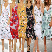 2019 Summer Womens Floral Bodycon V-Neck Party Sleeveless Beach Casual Dress
