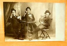 MEN IN BOWLER HATS DRINKING BEER & PLAYING CARDS Vintage Studio Photo Postcard