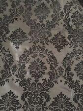 Black Damask Flocking Velvet Taffeta Fabric 60'' Wide Fabric By The Yard