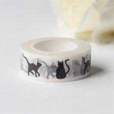 Cute Black Cat DIY Self Adhesive Washi Masking Tape Sticker Craft Decor PipecA