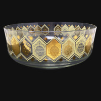 Vintage Cera Pineapple Ned Harris Gold Yellow Large Glass Serving Bowl 1960 MCM