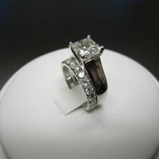 Set Engagement Ring 14K White Gold Fn 1.50 Ct Princess Cut D/Vvs1 Diamond Bridal