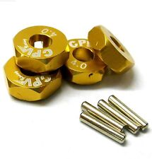 57814a 1/10 Scala RC M12 12mm Lega Ruota ADATTATORI CON PIN DADO GIALLO 4mm