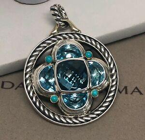 David Yurman Large Half Moon Renaissance Enhancer Blue Topaz Turquoise 925/18K