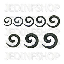Ear Taper Stretcher Expander - Spiral Snail | 1.6mm-10mm | Black Acrylic