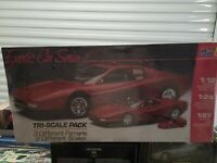 Monogram Tri-Scale Pack Ferrari Testarossa & F40 Set 1/12 1/24 & 1/87 Sealed