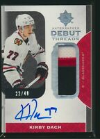 2019-20 Upper Deck Ultimate Debut Threads Auto RC Patch Kirby Dach 22/49