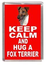 "Smooth Fox Terrier Fridge Magnet ""KEEP CALM AND HUG A FOX TERRIER"" by Starprint"