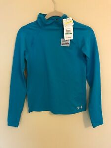 NWT Under Armour Girls Blue Compression Thermal Base Mock Neck Size YLG