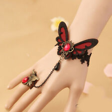 Black Butterfly Lace Bracelet Rhinestone Adjustable Ring Slave Wristband