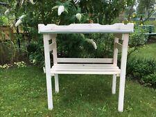 Pflanztisch aus Holz mit verzinkter Arbeitsplatte weiß B80 x T40 x H82 cm