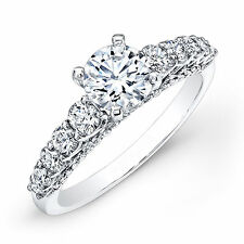 Solitaire 2.00 Ct Diamond Engagement Ring Round Cut  Sterling Silver Size L