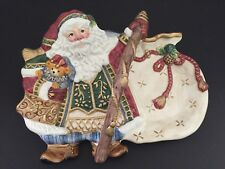 Fitz & Floyd Classics Santa Claus Collectors Serving/Cookie Plate With Handle