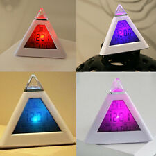 1Pcs Snooze Backlight Pyramid Alarm Color changes Digital Clock temperature