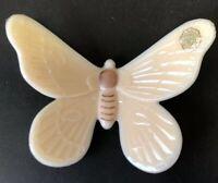 Vintage Westmoreland Milk Glass Beige Butterfly Handpainted Authentic Handmade
