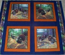 4 Wild Turkey Morning Gobblers Pillow Panels Fabric 100% Cotton Wildlife