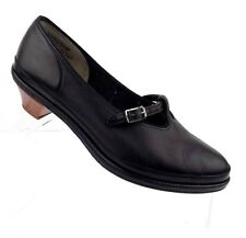 Vintage Pin-Money Women's Shoes Black Pebbled Leather Mary Jane Size 7W