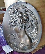 Original Large Art Nouveau Cast Bronze Bas-Relief Lady Cameo Portrait Plaque