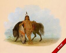 CHEYENNE NATIVE AMERICAN INDIAN WARRIOR W HORSE PAINTING ART REAL CANVAS PRINT
