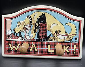 "Dog Leash Hanger ""Walk!"" Ceramic Wall Plaque Wood Pegs Scottie Red Black Tartan"