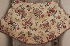 1880 printed Indienne cotton ciel de lit bed hanging fabric w/ trim