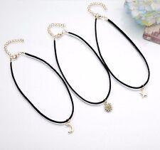 Women Vintage Moon Sun Star Charms 3pcs Velvet Collar Choker Bib Necklace AU
