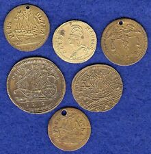 More details for 6x various small brass counters, jetons (ref. t3670)