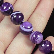 10mm Purple Agate Round Beads Heated Bracelet BLH85