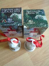 """Weihnachtsglocke 1986 """"Fjordland"""" & 1993 """"Auf der Heide"""" Hutschenreuther in OVP"""