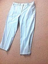 SAKS FIFTH AVENUE SIZE 16 REAL CLOTHES AQUA ANKLE PANT, FRONT ZIP, COTTON W/SPAN