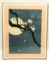 Vintage 1975 Mahayana Inc Art Print Cherry Blossom Branch With The Moon