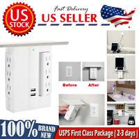 Multi Plugs Socket Shelf 8 Port Surge Protector 6 Wall Outlet Extenders Dual USB