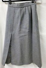 Jaeger Blue Herringbone Long Skirt Size 8 24 X 29 Front Pleat Vintage