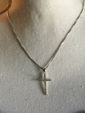 "925 Sterling Silver CZ Cross Pendant Necklace on 18"" 925 Sterling Silver chain"