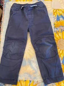 Hanna Andersson boys double knee woven pants navy blue 100 4T EUC