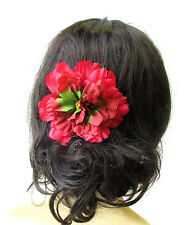 Large Red Green Peony Flower Hair Comb Bridesmaid Big Rockabilly 1950s Pin 1736