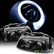 For 1990-91 Honda Civic Crx 2/3/4Dr LED Halo Projector Blk Headlights Headlamps
