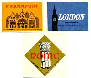 QANTAS Airline to FRANKFURT / LONDON / ROME - 3 Jet Age Luggage Labels, c. 1960