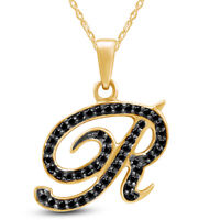 """0.25 Ct Black Diamond """"R"""" Initial Pendant Necklace 14K Yellow Gold Over Sterling"""
