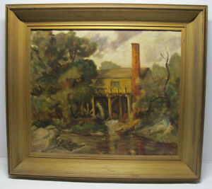 """Antique 19th C Oil / Canvas Painting """"The Old Mill"""" Allentown, PA Signed  yqz"""