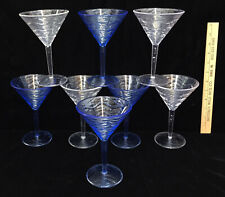 Martini Cocktail Glasses Blue & Clear Pedestal Margaritas Acrylic Plastic Set 8