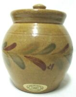 Rockdale Pottery Wisconsin Vintage Jar Crock Container Leaf Print Handmade U.S.A