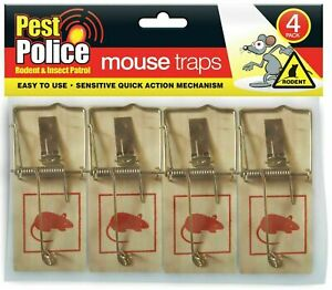 4x Traditional Mouse Traps Mice Trap Rodent Traps Reusable Wooden & Durable Pest